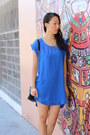Blue-h-m-dress-black-studded-quilted-ross-purse-orange-zara-heels