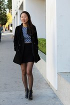 black cut-out booties Report shoes - black Forever 21 coat - blue PacSun top