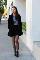 black cut-out booties Report shoes - black Forever 21 coat - blue PacSun top