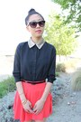 Coral-circle-skirt-f21-skirt-black-glitter-collar-top-black-strappy-heels