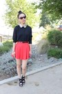 Black-glitter-collar-top-coral-circle-skirt-f21-skirt-black-strappy-heels