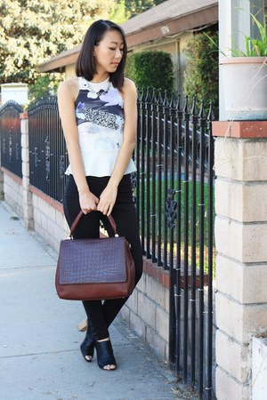 white peplum Zara top - crimson Sole Society bag - black Mossimo heels