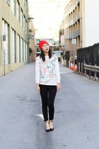 black ankle gold cuff shoes - red knit hat - ivory knit unknown sweater