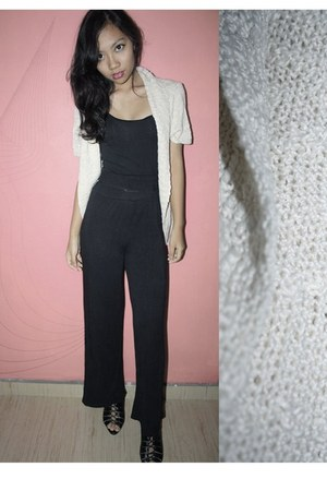black Forever21 top - black thrifted pants - eggshell cotton on cardigan - black
