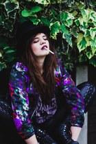 black Office boots - black vintage hat - purple floral print H&M jacket