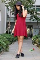 black straw fedora cotton on hat - crimson swing Missguided dress