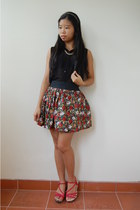 black sheer unbranded blouse - red floral Orange Sorbet skirt