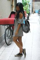 gray shift Ebay dress - black stripe Boohoo bag - black Ebay sunglasses