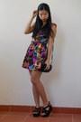 Colourful-unbranded-dress-black-clutch-bonita-bag