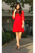 red lace Ebay dress - camel asos heels