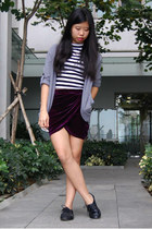 deep purple Missguided skirt - black stripe crop River Island top