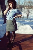 black boots - black Urban Outfitters tights - gray thrifted skirt - blue thrifte
