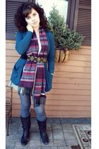 black boots - blue tights - silver skirt - blue cardigan - black belt - purple s