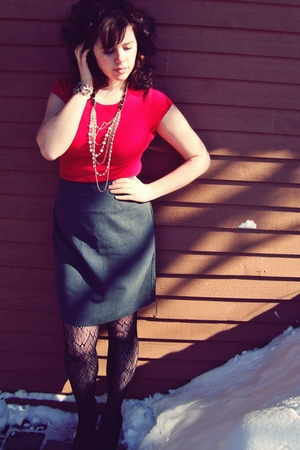 black thrifted boots - black Target tights - gray thrifted skirt - red Charlotte