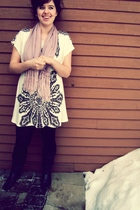 black Steve Madden boots - black tights - white dress - purple scarf
