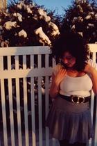 white Charlotte Russe shirt - black thrifted belt - gray thrifted skirt - black