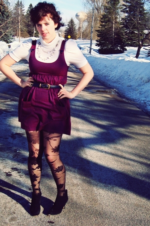 black thrifted boots - black Urban Outfitters tights - red thrifted dress - blue
