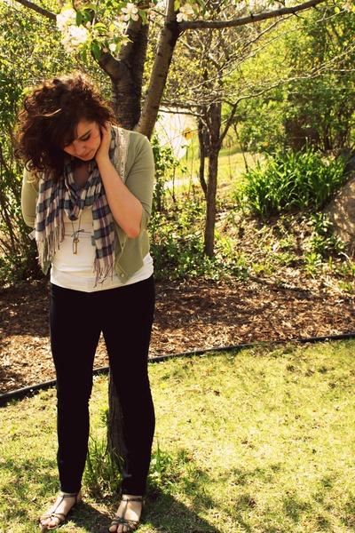 black Gap jeans - gold isaac mizrahi shoes - white Target shirt - green TJMaxx c