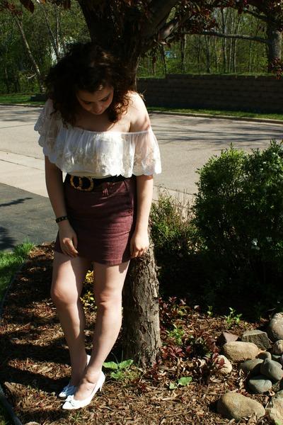 white shirt - red skirt - white shoes - blue belt