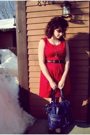 red Charlotte Russe dress - purple purse