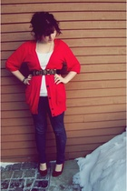 red shoes - red American Eagleic cardigan - gold Urban Outfitters belt - white s