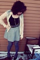 blue tights - silver H&M skirt - blue belt - black top - beige cardigan