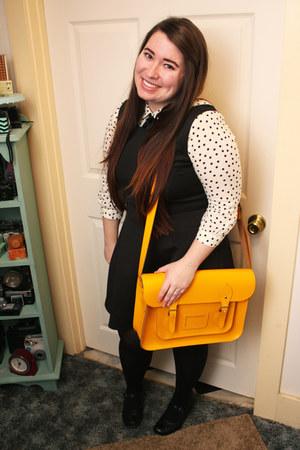 yellow modcloth bag - black Forever 21 dress - Forever 21 shirt