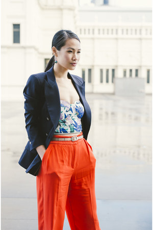 blue Shieke top - navy Zara blazer - carrot orange H&M pants