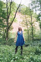 off white fringe Dressin sweater - sky blue romwe dress