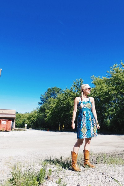 sky blue baobab Ikuru dress - gold harmony Purpose Jewelry necklace