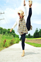 tribal print greylin top - black knit BCBG leggings - white PERSUNMALL blazer
