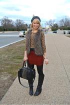 fur Target vest - black foldover Charlotte Russe boots - cheetah print H&M dress