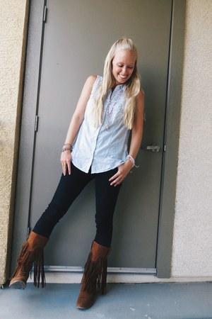 light blue deb top - bronze long fringe ami clubwear boots