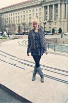 fur Target vest - gray suede Charlotte Russe boots - print vintage dress