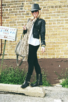 gold heeled Vince Camuto boots - black fedora Target hat - H&M jacket