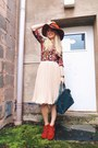 Brick-red-worn-as-a-top-oasap-dress-burnt-orange-fedora-blackfive-hat