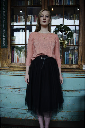 light pink cable knit romwe sweater - black tulle midi Anthropologie skirt