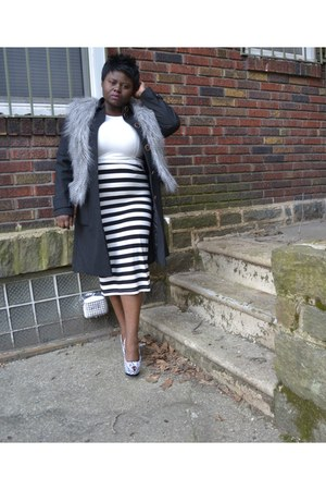 Victorias Secret coat - Topshop skirt - faux fur Delias vest