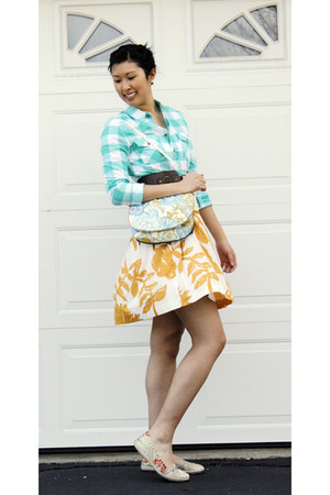carrot orange Gap skirt - aquamarine Urban Planet shirt