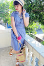 Blue-american-apparel-dress-tawny-strappy-parisian-sandals