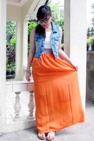 carrot orange dress - blue vest