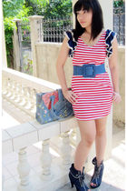 red Cherryfloat dress - blue Parisian shoes - blue Random from Vietnam bag
