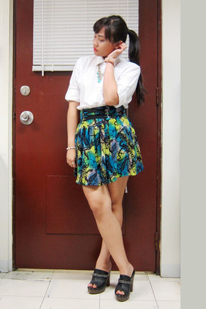 chartreuse skirt - black clogs shoes - ivory button down shirt