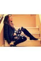 black Iqon boots - black Zara jacket - Mango leggings - black Stradivarius shirt