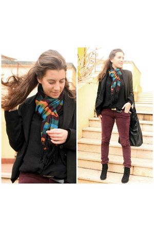 black Mango blazer - black Stradivarius shirt - Morocco scarf