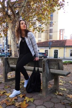 black Zara leggings - Pimkie jacket - black Bershka shirt - black Bershka bag