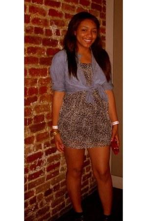 camel H&M dress - sky blue Levis shirt - black Spring heels