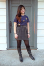 Black-vintage-boots-navy-unknown-brand-shirt-charcoal-gray-forever-21-skirt