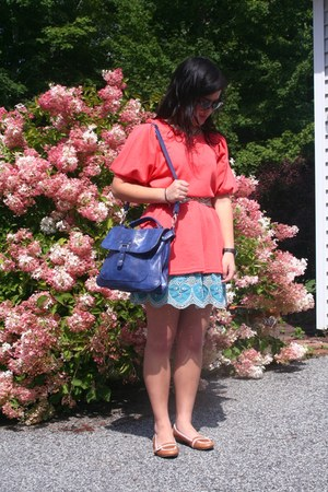 navy Emile M bag - coral DaDa dress - turquoise blue Primark skirt