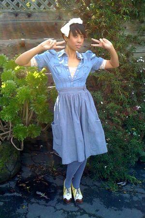 blue blouse - blue skirt - blue stockings